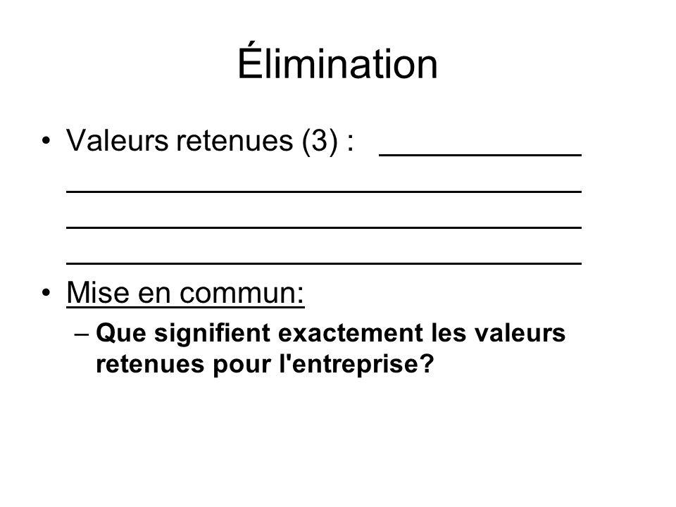 Élimination Valeurs retenues (3) : Mise en commun:
