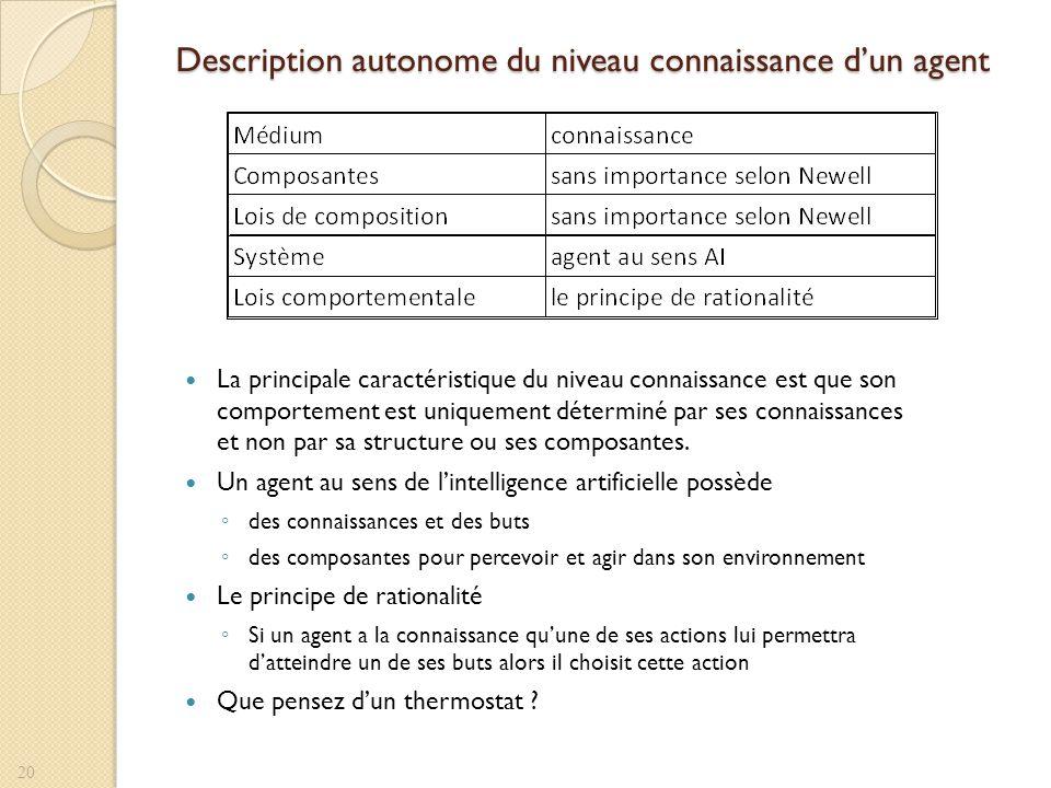 Description autonome du niveau connaissance d'un agent