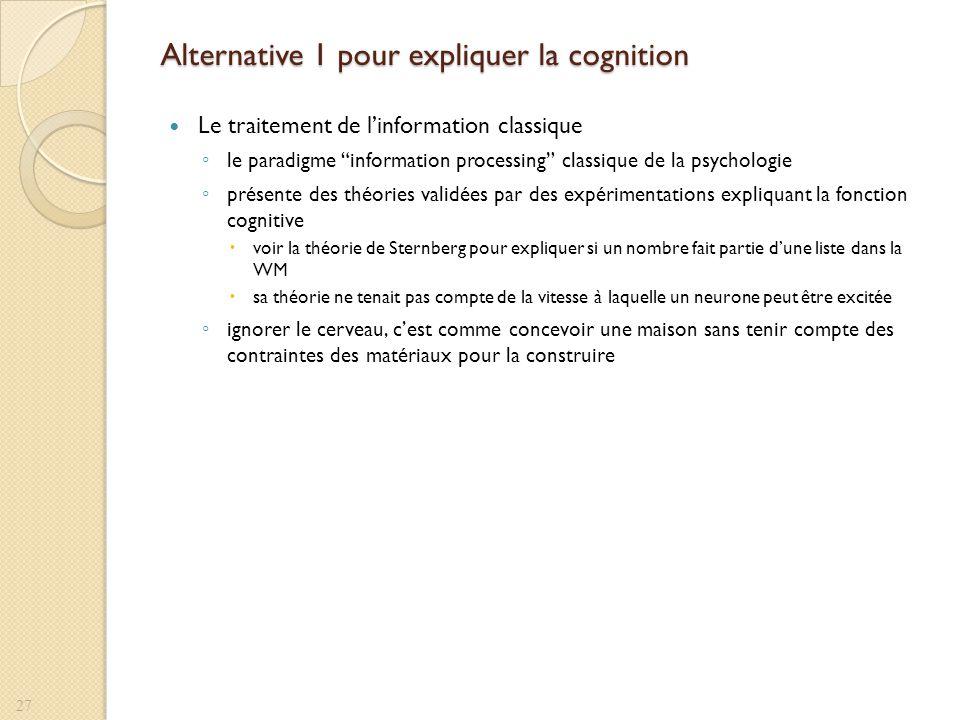 Alternative 1 pour expliquer la cognition