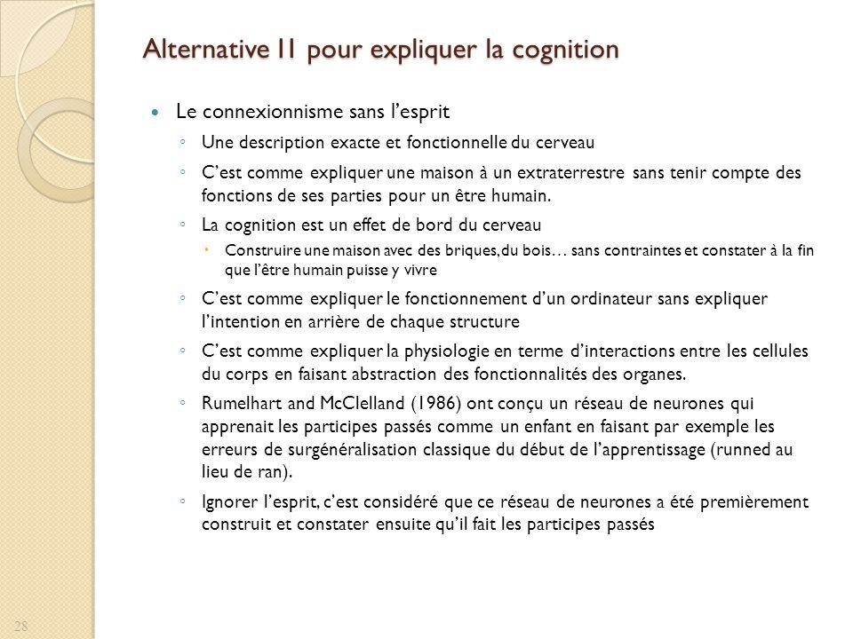 Alternative I1 pour expliquer la cognition