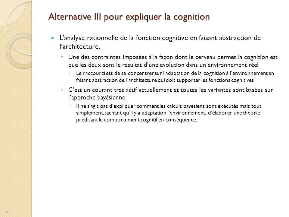 Alternative III pour expliquer la cognition