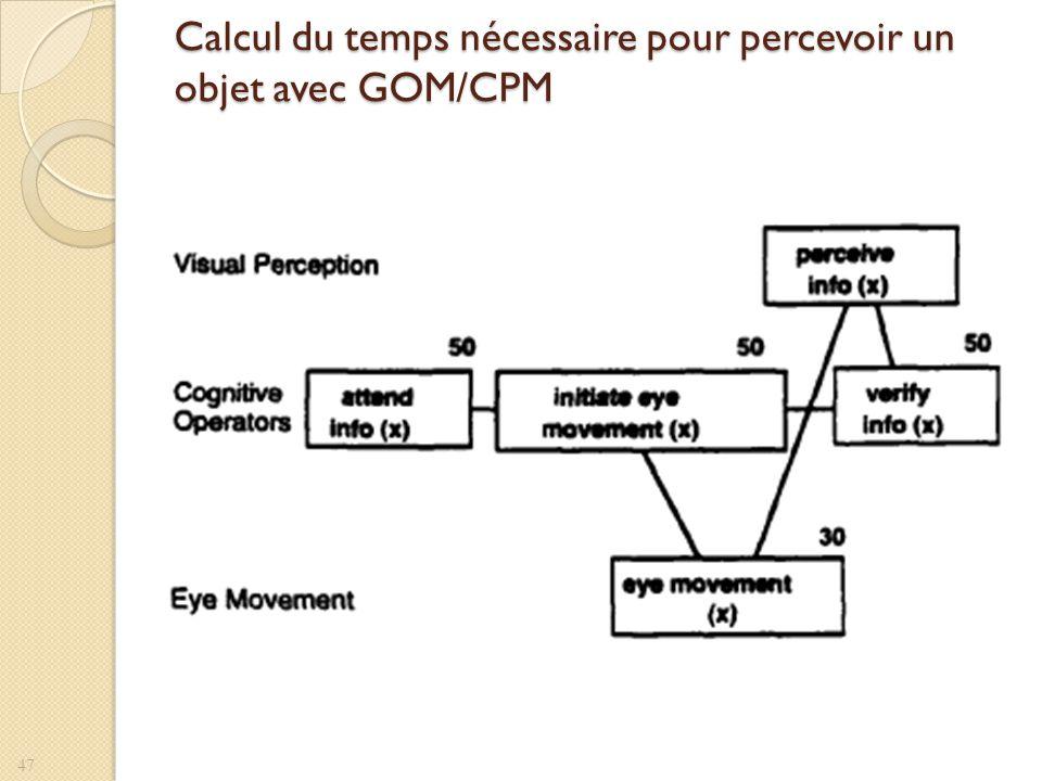 Calcul du temps nécessaire pour percevoir un objet avec GOM/CPM