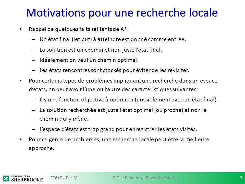 Motivations pour une recherche locale