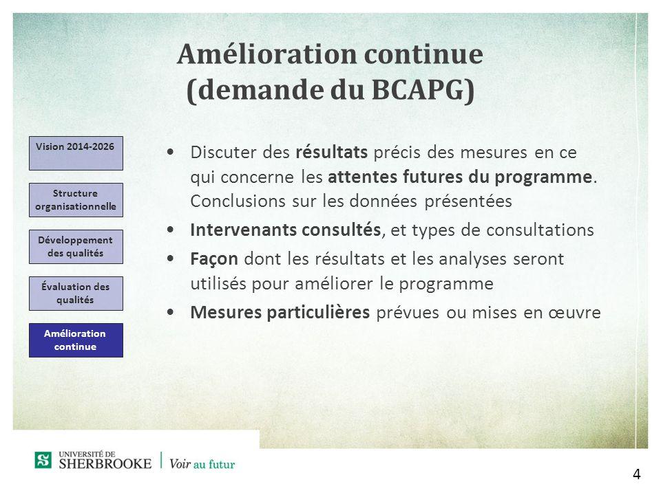 Amélioration continue (demande du BCAPG)