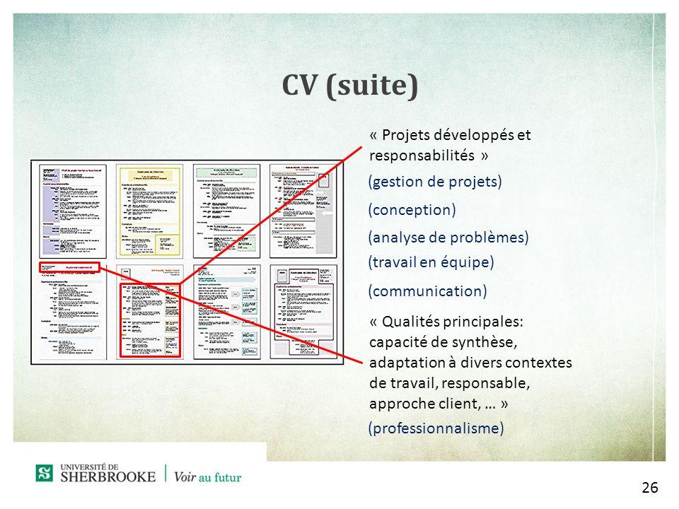 CV (suite) « Projets développés et responsabilités »