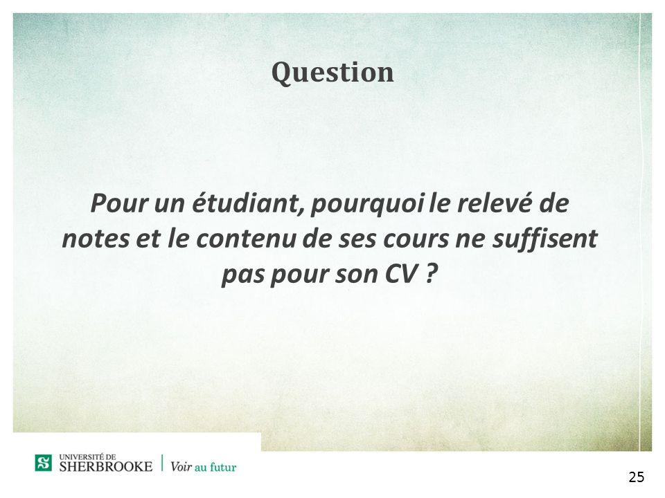 Question Pour un étudiant, pourquoi le relevé de notes et le contenu de ses cours ne suffisent pas pour son CV