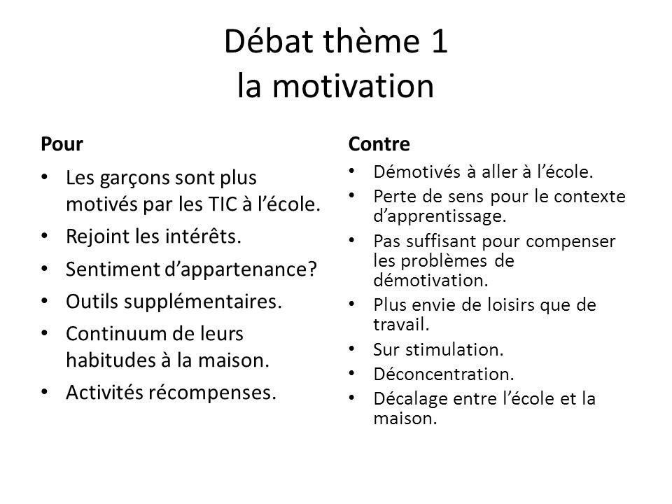 Débat thème 1 la motivation