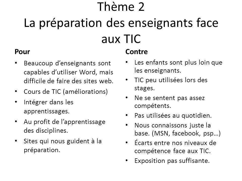 Thème 2 La préparation des enseignants face aux TIC