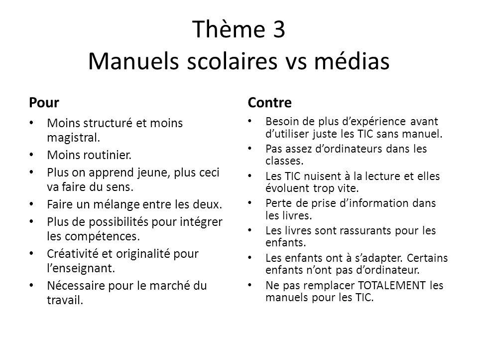 Thème 3 Manuels scolaires vs médias