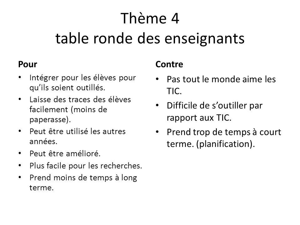 Thème 4 table ronde des enseignants