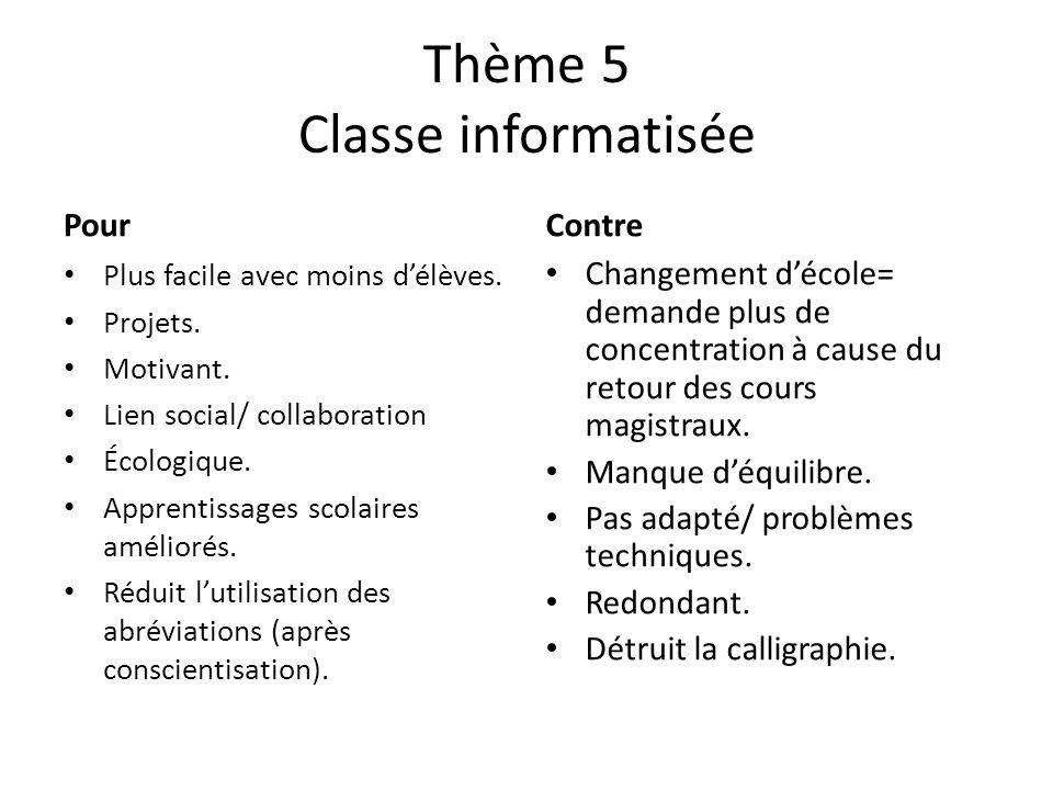 Thème 5 Classe informatisée