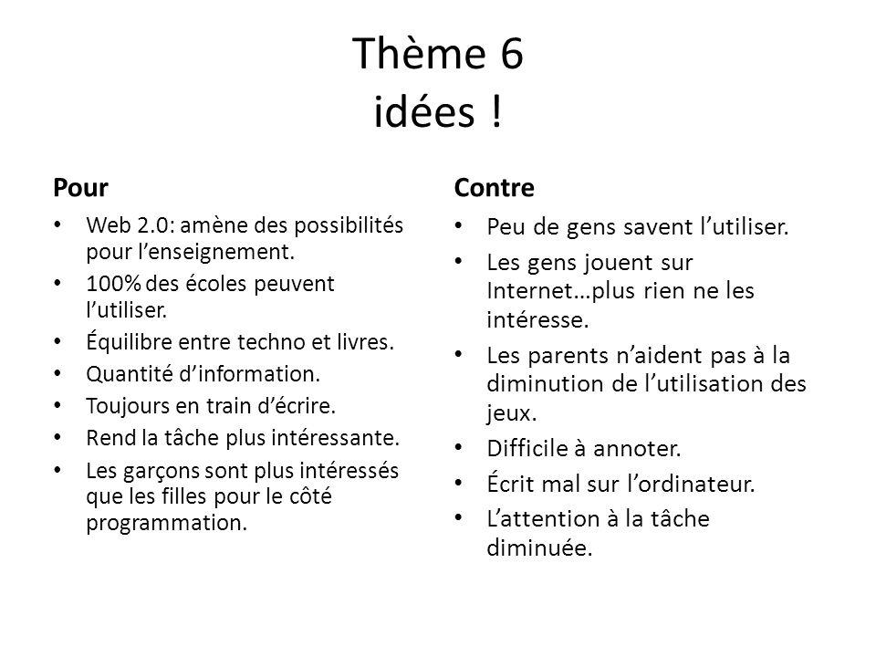 Thème 6 idées ! Pour Contre Peu de gens savent l'utiliser.