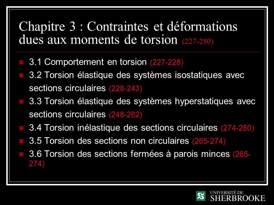 Chapitre 3 : Contraintes et déformations dues aux moments de torsion (227-280)