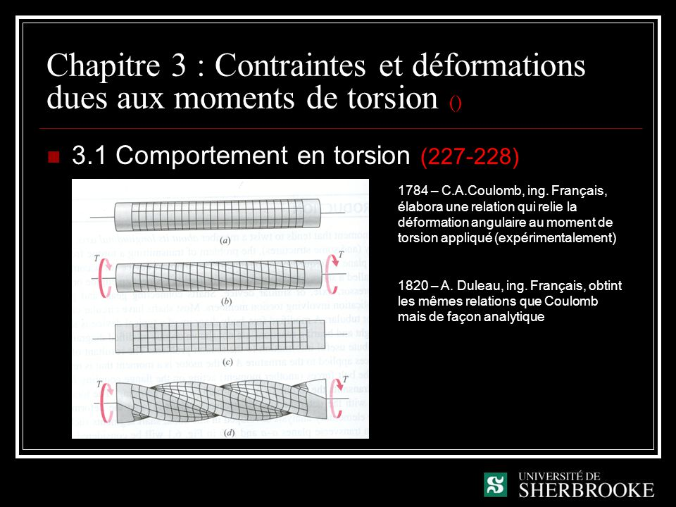 Chapitre 3 : Contraintes et déformations dues aux moments de torsion ()