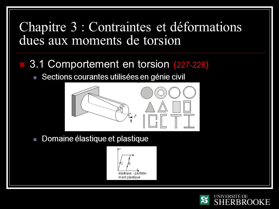 Chapitre 3 : Contraintes et déformations dues aux moments de torsion