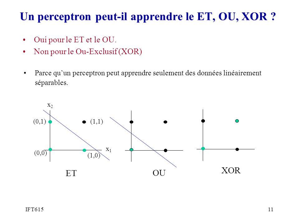 Un perceptron peut-il apprendre le ET, OU, XOR