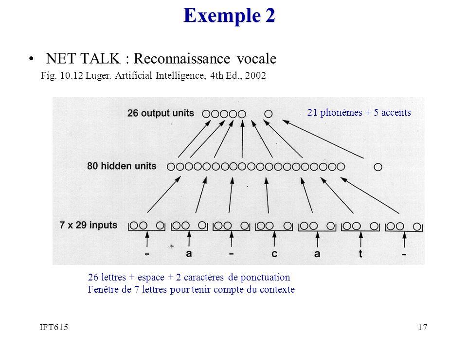 Exemple 2 NET TALK : Reconnaissance vocale