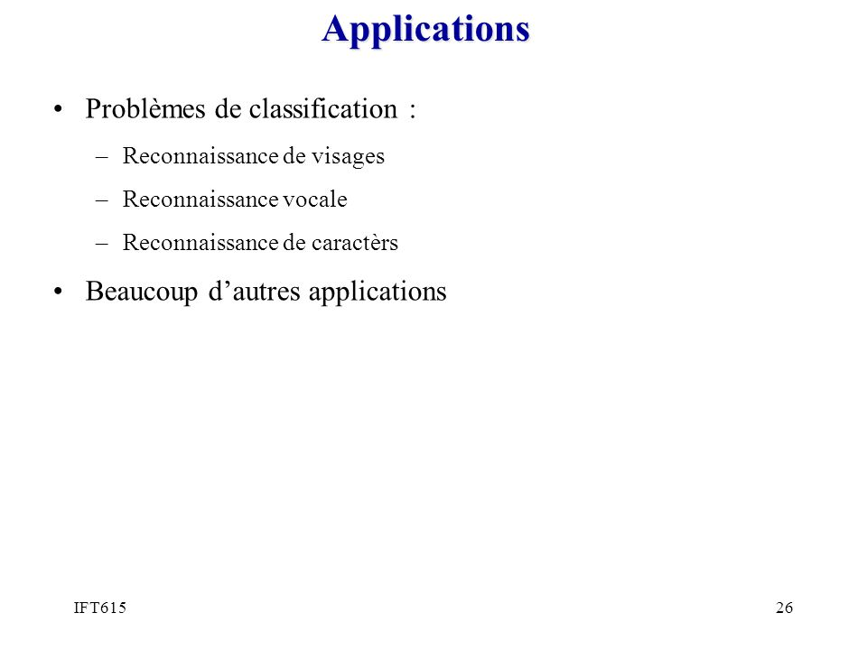 Applications Problèmes de classification :