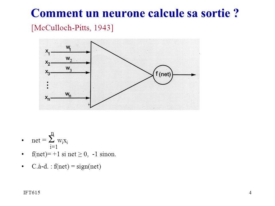 Comment un neurone calcule sa sortie