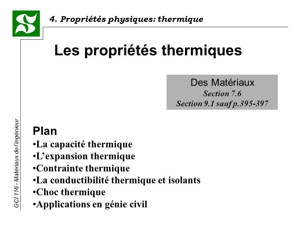 Les propriétés thermiques