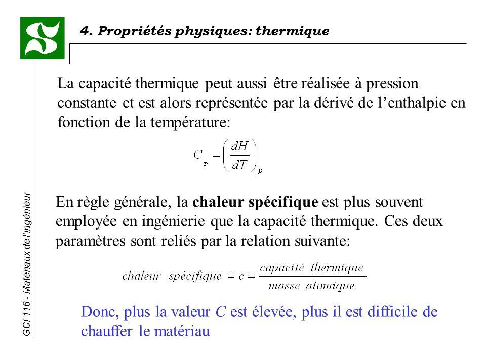 La capacité thermique peut aussi être réalisée à pression constante et est alors représentée par la dérivé de l'enthalpie en fonction de la température: