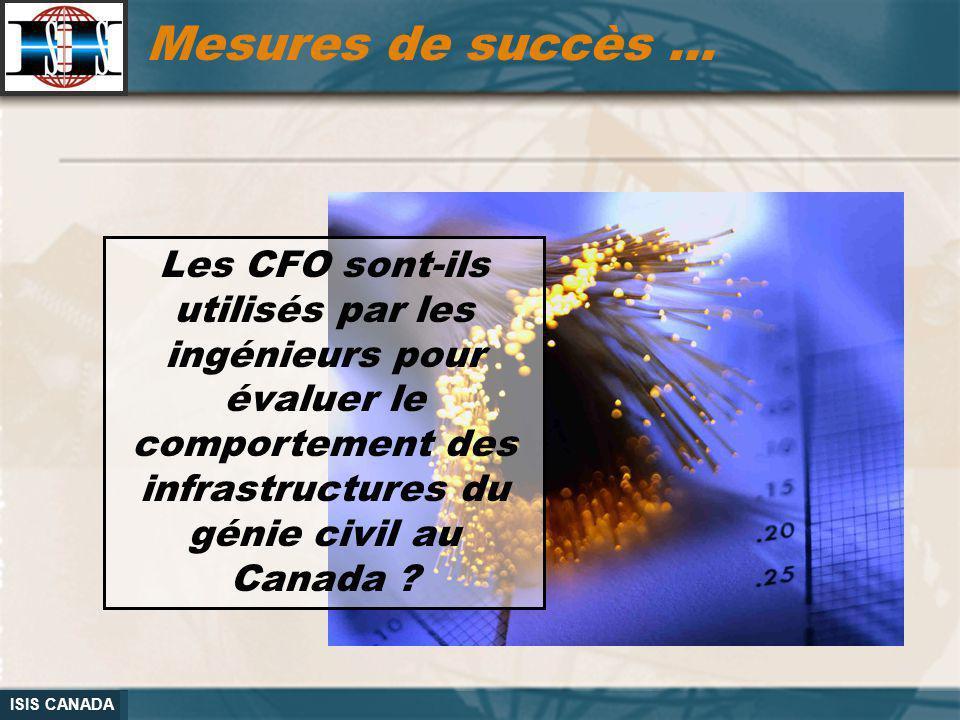 Mesures de succès … Les CFO sont-ils utilisés par les ingénieurs pour évaluer le comportement des infrastructures du génie civil au Canada