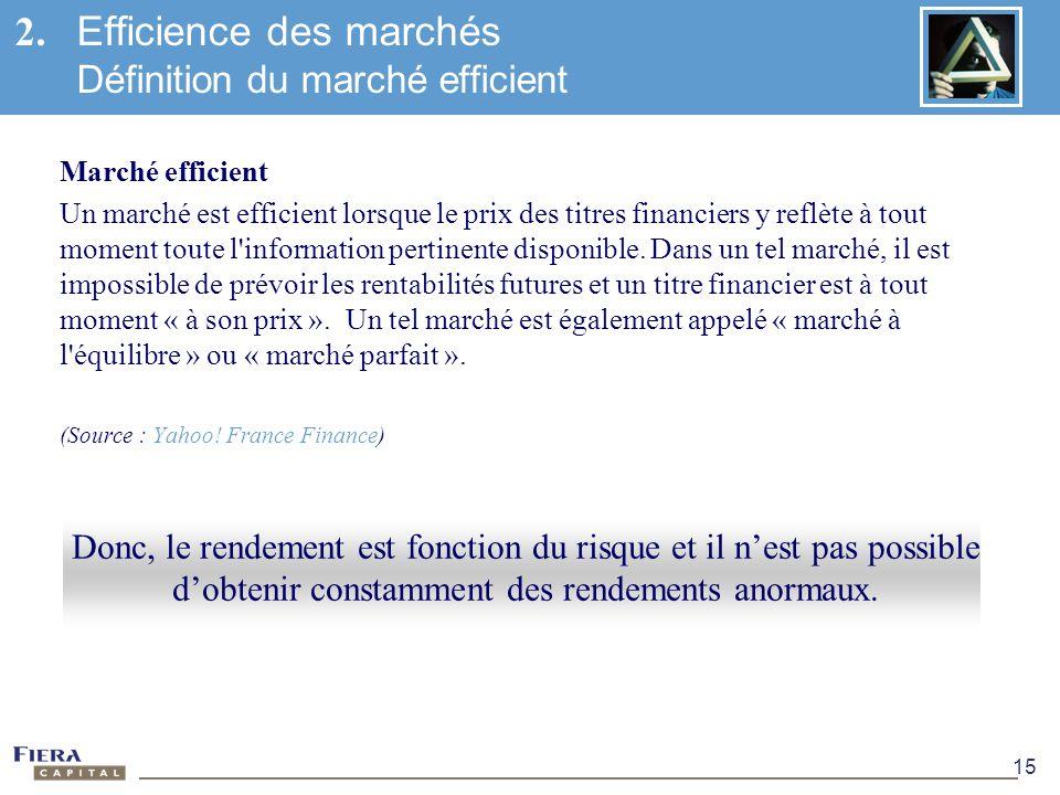2. Efficience des marchés Définition du marché efficient