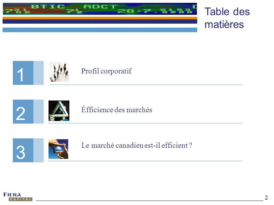 1 1 2 2 3 3 Table des matières Profil corporatif