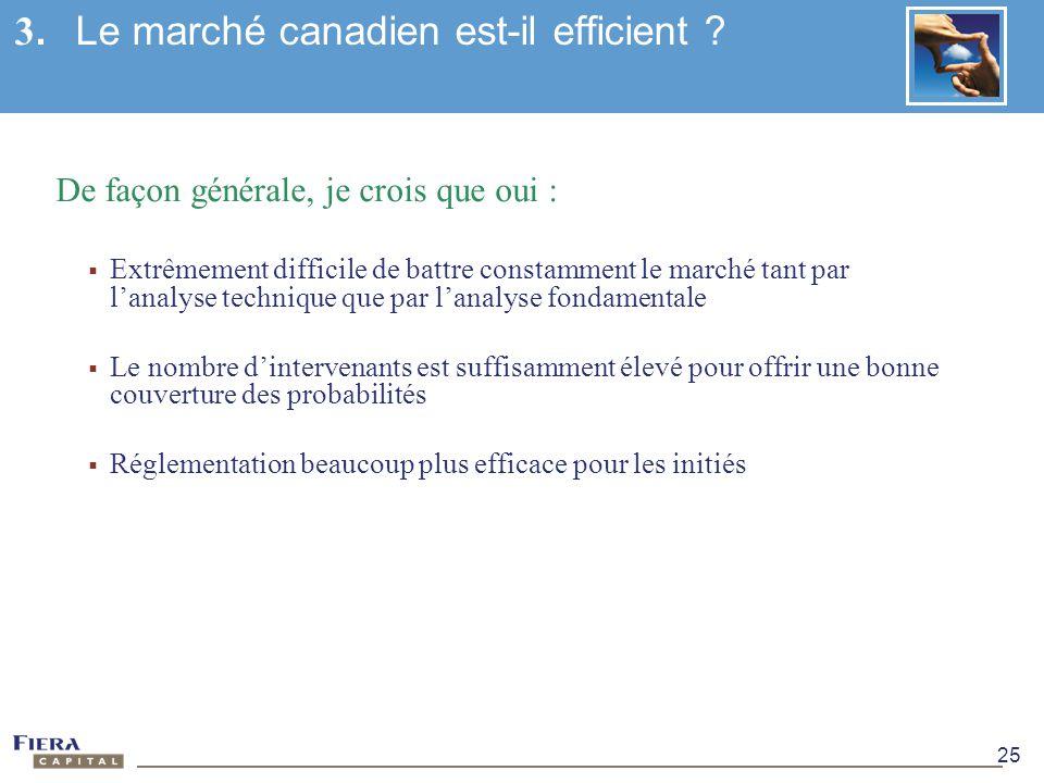 3. Le marché canadien est-il efficient