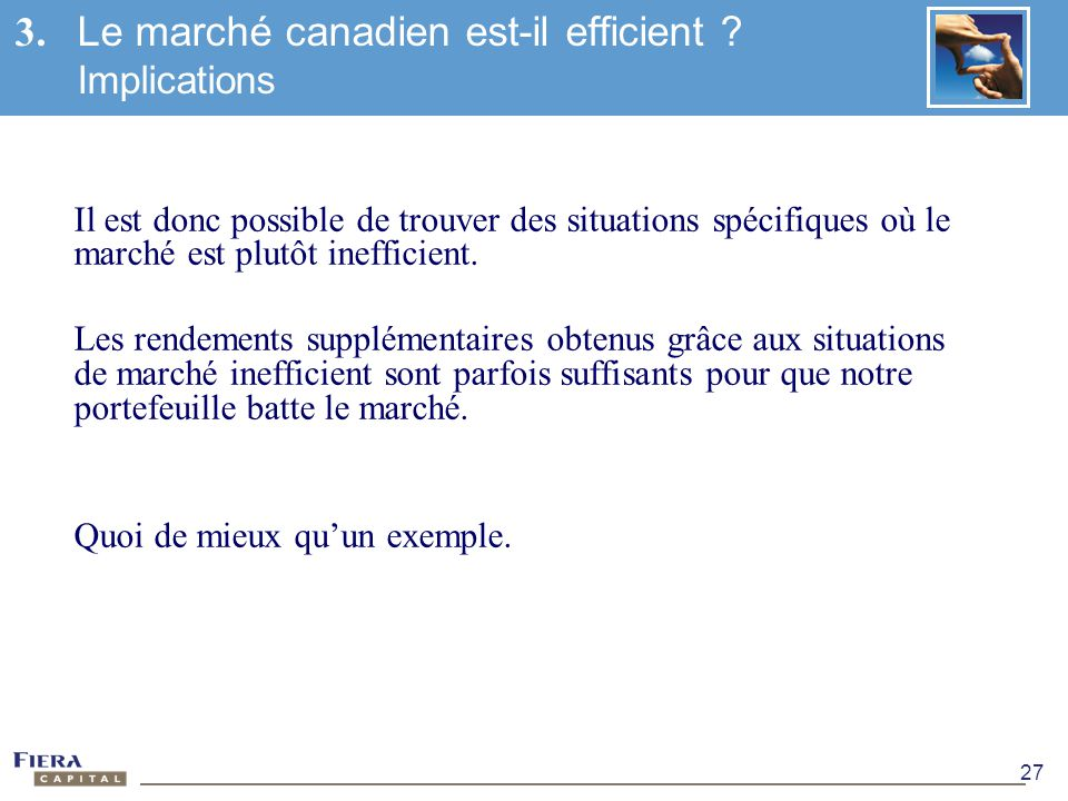 3. Le marché canadien est-il efficient Implications