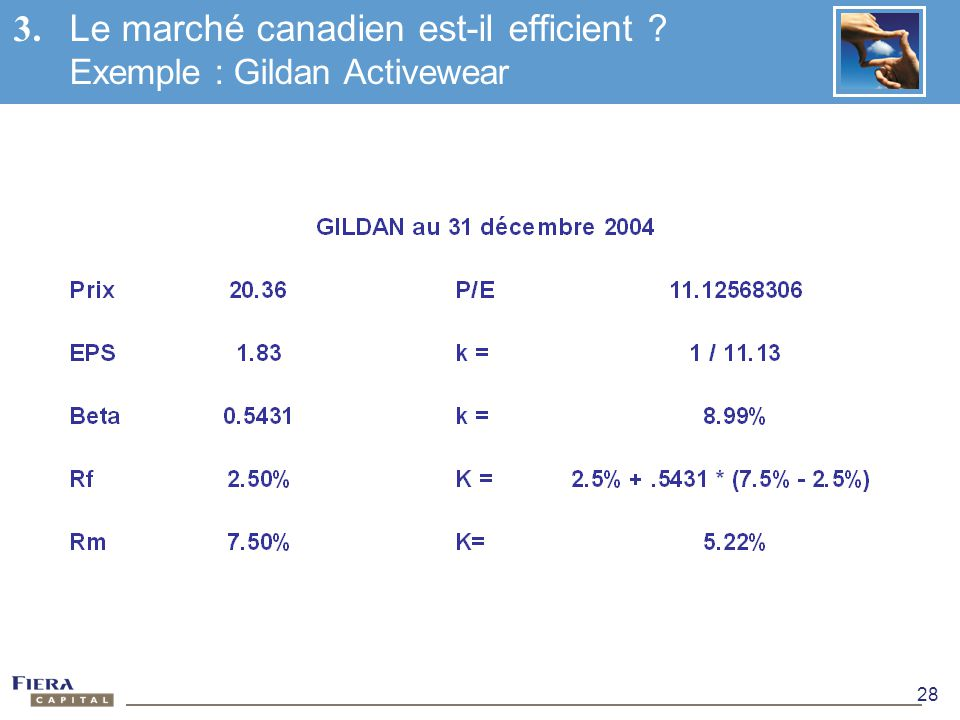 3. Le marché canadien est-il efficient Exemple : Gildan Activewear