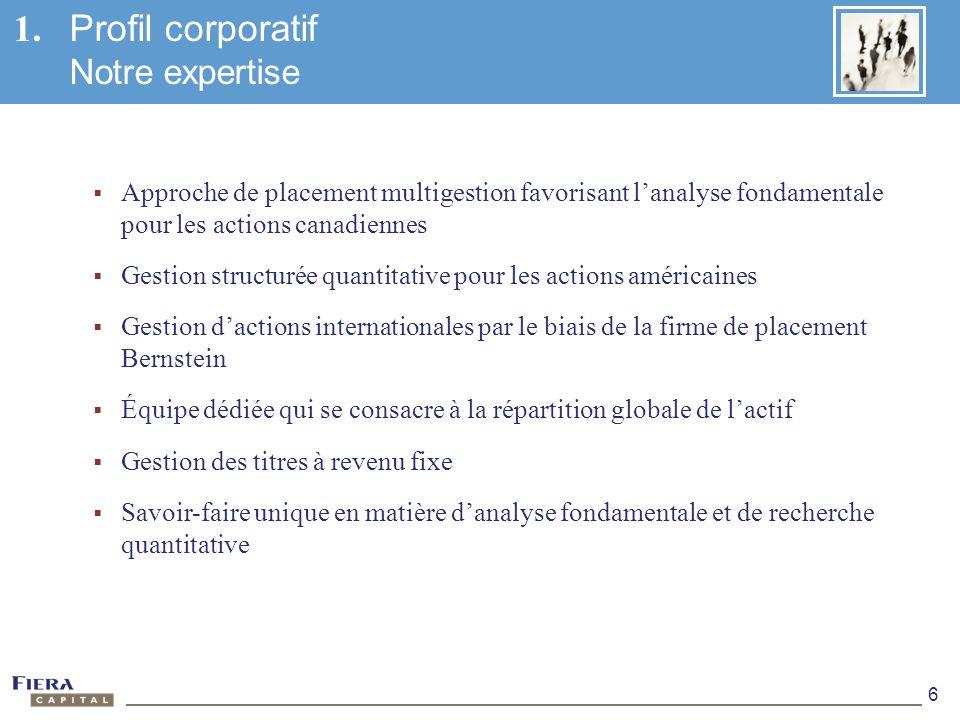 1. Profil corporatif Notre expertise