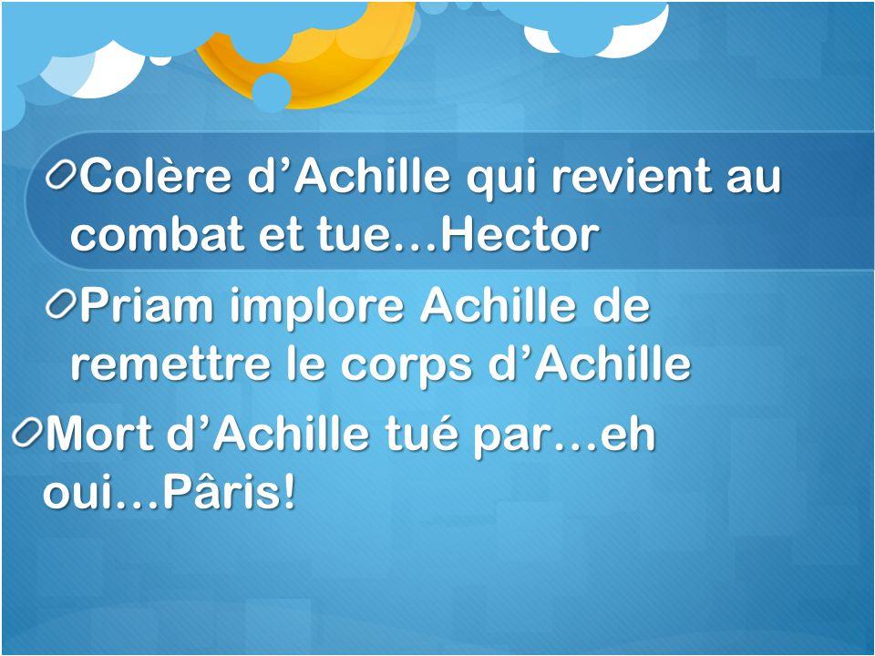 Colère d'Achille qui revient au combat et tue…Hector