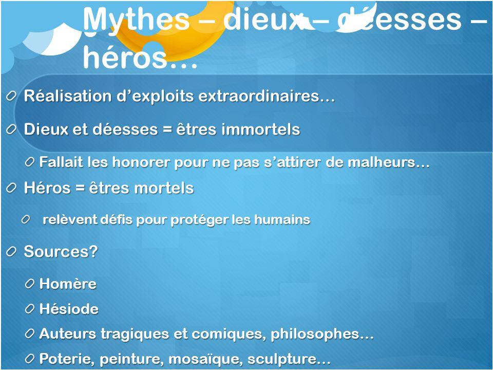 Mythes – dieux – déesses – héros…