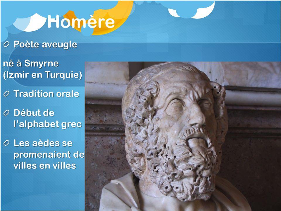 Homère Poète aveugle né à Smyrne (Izmir en Turquie) Tradition orale