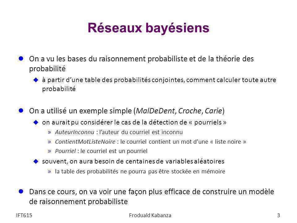 Réseaux bayésiens On a vu les bases du raisonnement probabiliste et de la théorie des probabilité.