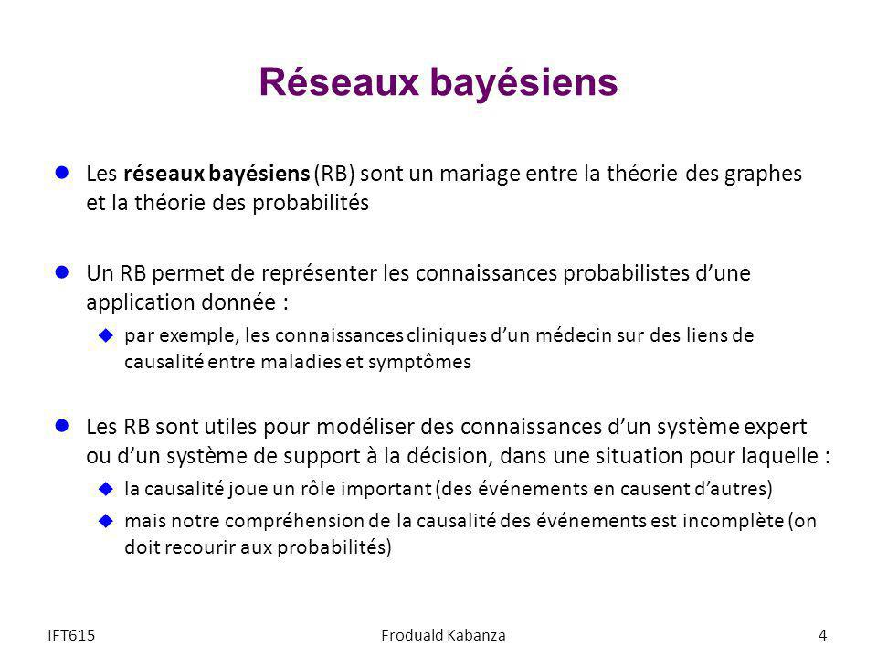 Réseaux bayésiens Les réseaux bayésiens (RB) sont un mariage entre la théorie des graphes et la théorie des probabilités.