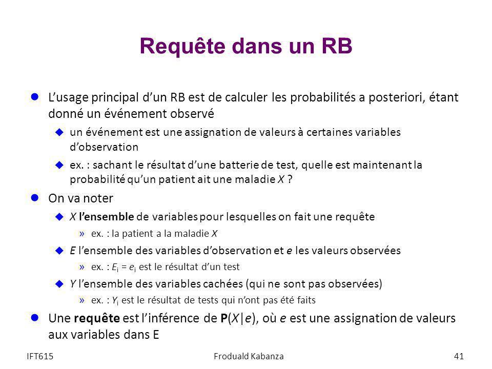 Requête dans un RB L'usage principal d'un RB est de calculer les probabilités a posteriori, étant donné un événement observé.