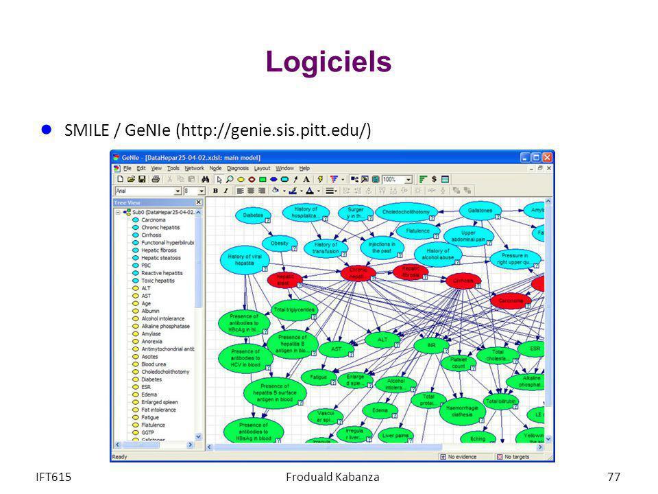 Logiciels SMILE / GeNIe (http://genie.sis.pitt.edu/) IFT615