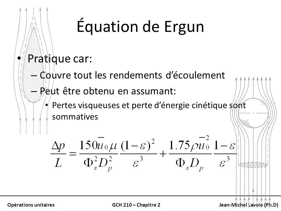 Équation de Ergun Pratique car: