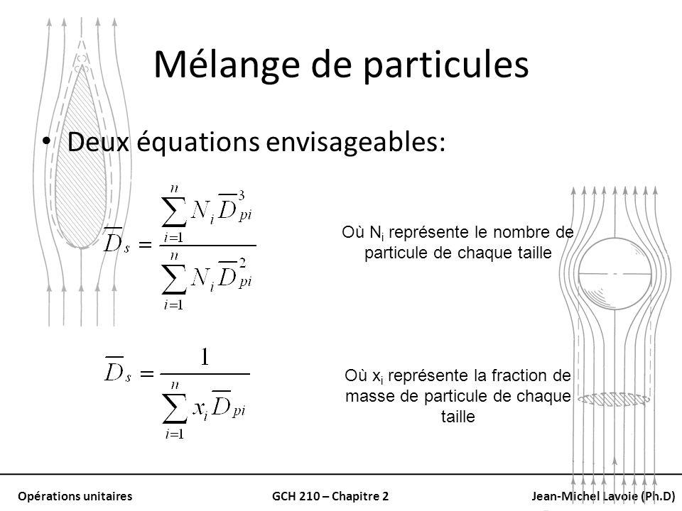 Mélange de particules Deux équations envisageables:
