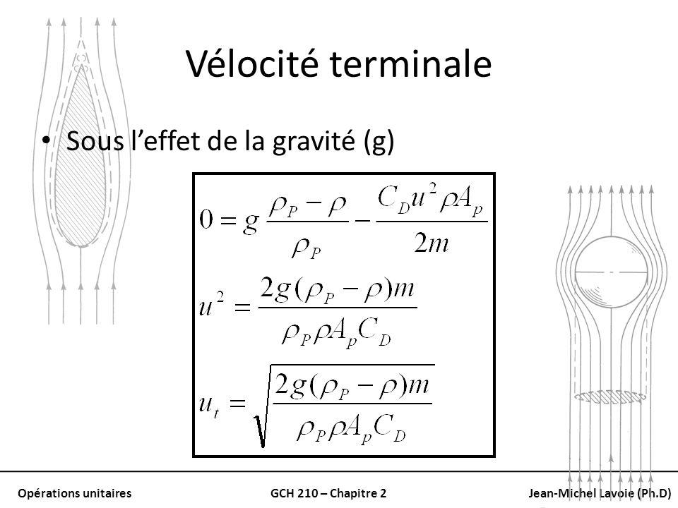 Vélocité terminale Sous l'effet de la gravité (g)