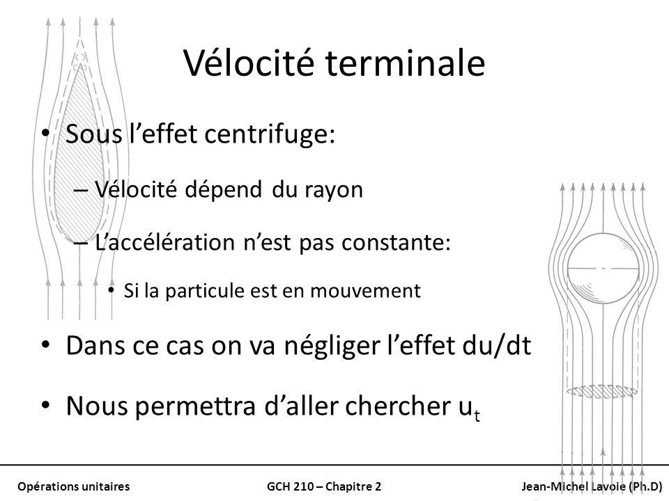 Vélocité terminale Sous l'effet centrifuge: