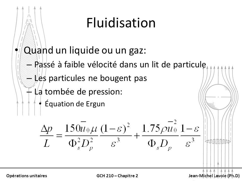 Fluidisation Quand un liquide ou un gaz: