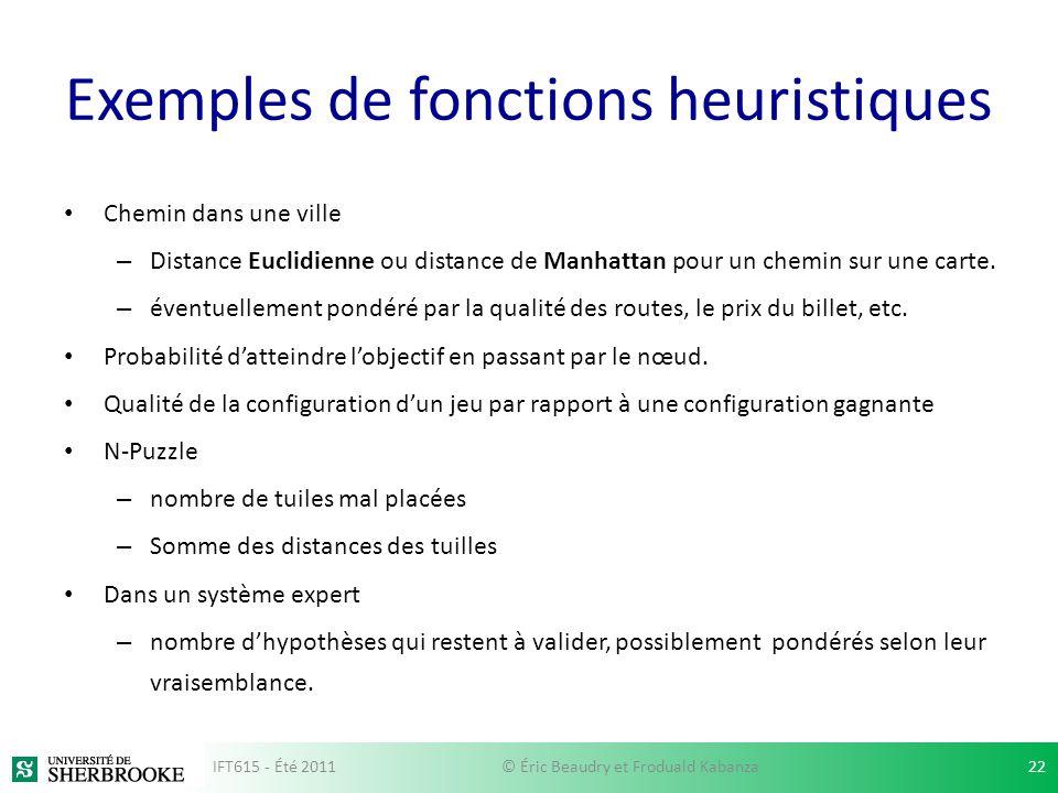 Exemples de fonctions heuristiques