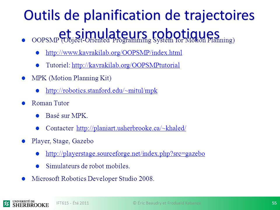 Outils de planification de trajectoires et simulateurs robotiques