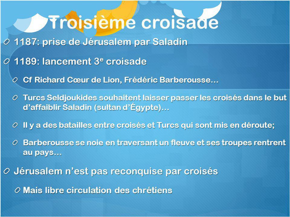 Troisième croisade 1187: prise de Jérusalem par Saladin