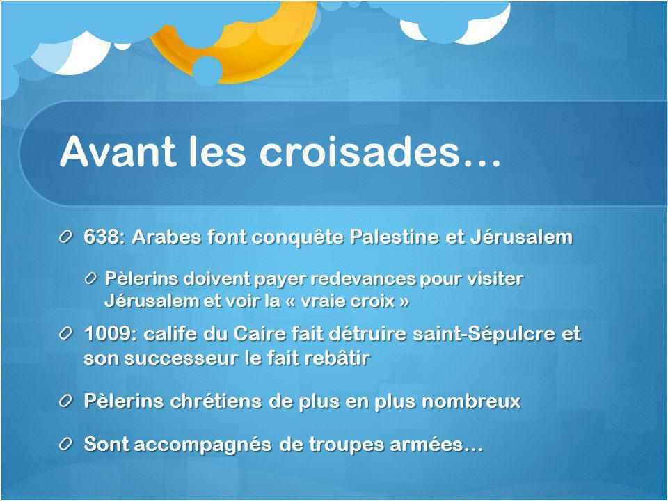 Avant les croisades… 638: Arabes font conquête Palestine et Jérusalem