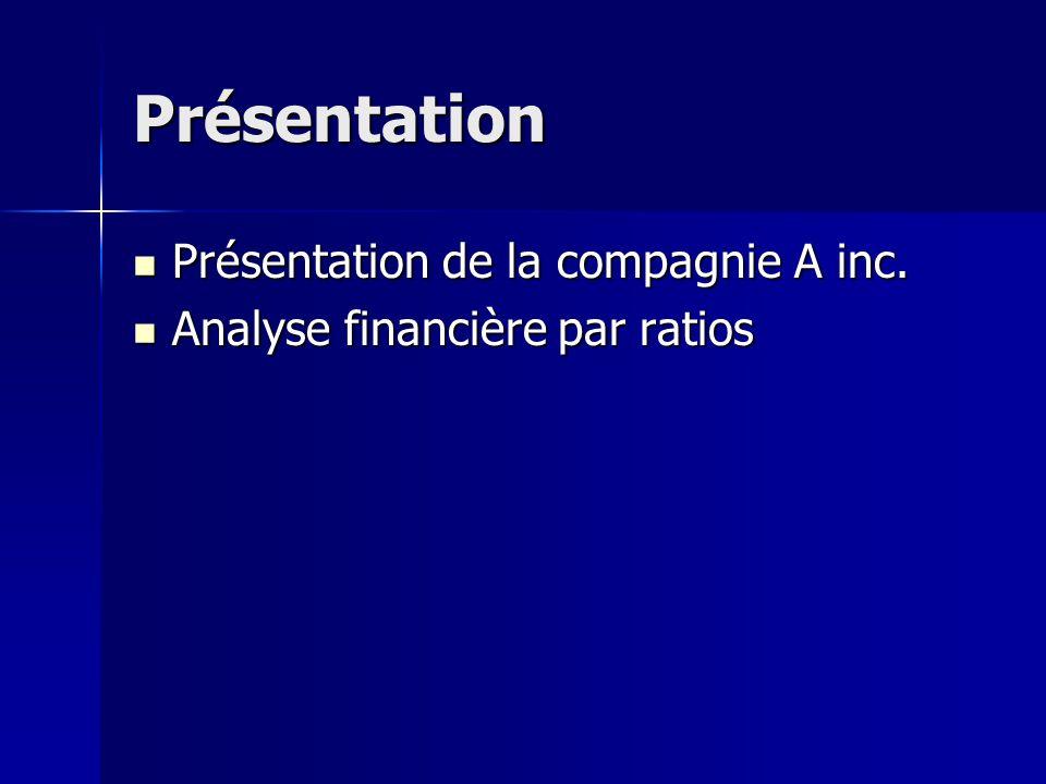 Présentation Présentation de la compagnie A inc.