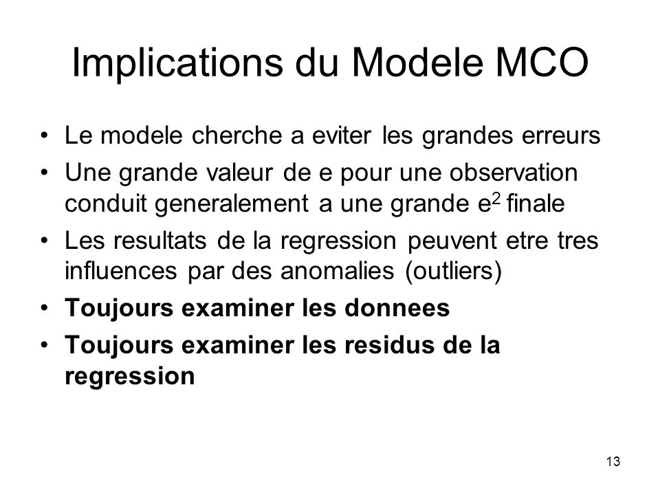 Implications du Modele MCO